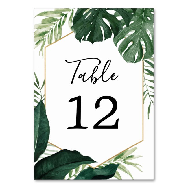 Tropical Monstera Wedding Table Numbers