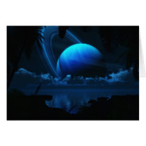 ringed, planet, blue, moon, tropical, beach, Card with custom graphic design