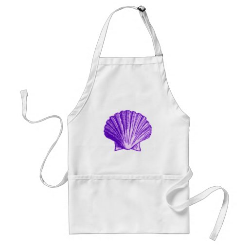 Tropical Moonlight Purple Shell Adult Apron