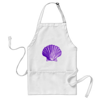 Tropical Moonlight Purple Shell Adult Apron