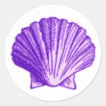 Tropical Moonlight Purple Shell Round Sticker