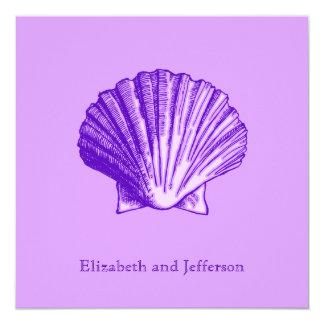 "Tropical Moonlight Purple Shell Wedding Invitation 5.25"" Square Invitation Card"