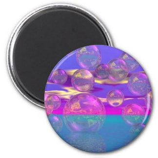 Tropical Morning – Magenta and Turquoise Paradise 2 Inch Round Magnet