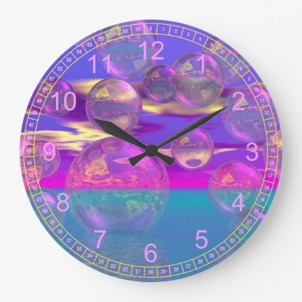Tropical Morning – Magenta and Turquoise Paradise Round Wall Clock