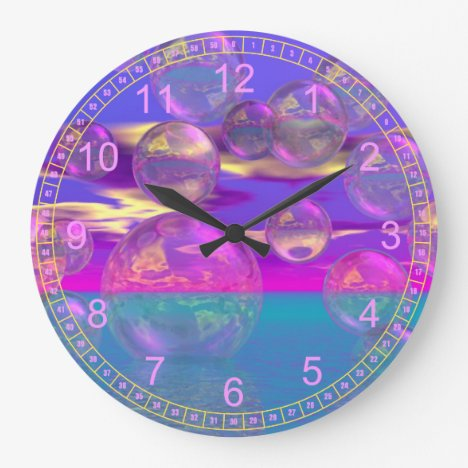 Tropical Morning – Magenta and Turquoise Paradise Large Clock