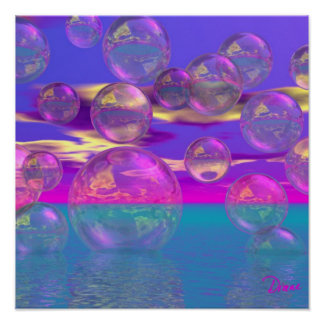 Tropical Morning – Magenta and Turquoise Paradise Poster