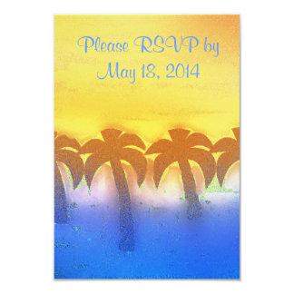 tropical  morning wedding 3.5x5 paper invitation card