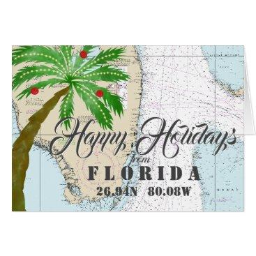 Beach Themed Tropical Nautical Happy Holidays from Florida Card