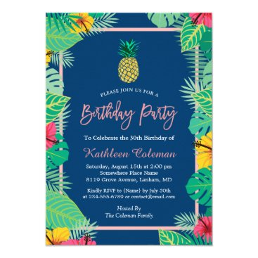Beach Themed Tropical Navy Blue Gold Pineapple Birthday Party Card
