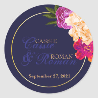 Tropical, Navy Floral Wedding Stickers