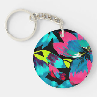 Tropical Neon Splash in Paradise Keychain