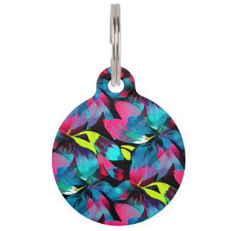 Tropical Neon Splash in Paradise Pet Tag