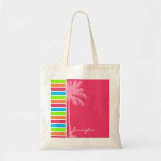 Tropical Neon Stripes; Pink Blue Green Budget Tote Bag