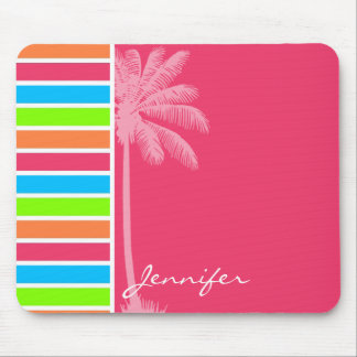 Tropical Neon Stripes; Pink Blue Green Mouse Pad