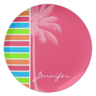 Tropical Neon Stripes; Pink Blue Green Plates