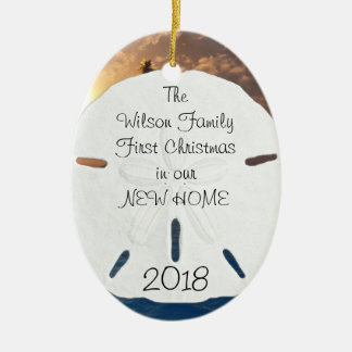 Tropical New Home Established Christmas Double-Sided Oval Ceramic Christmas Ornament