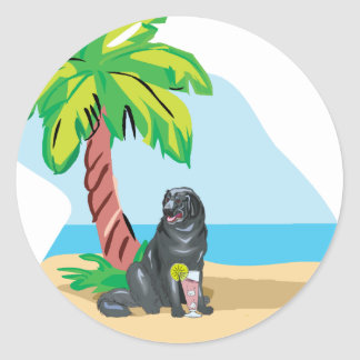 Tropical Newfie Classic Round Sticker