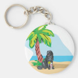 Tropical Newfie Key Chains
