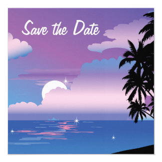 Tropical Night Save the Date Wedding Invitat Card