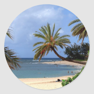 Tropical North Shore Beach, Oahu, Hawaii Classic Round Sticker