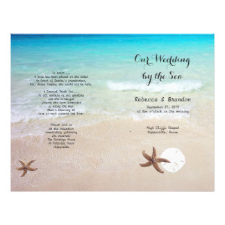 Tropical Ocean Beach Folded Wedding Program