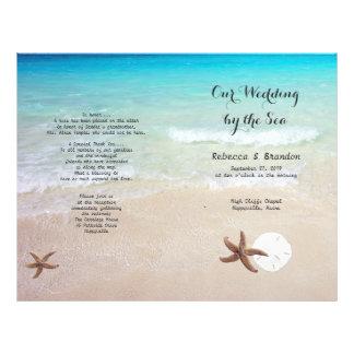 Tropical Ocean Beach Folded Wedding Program