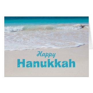 Tropical Ocean Beach Hanukkah Greeting Card