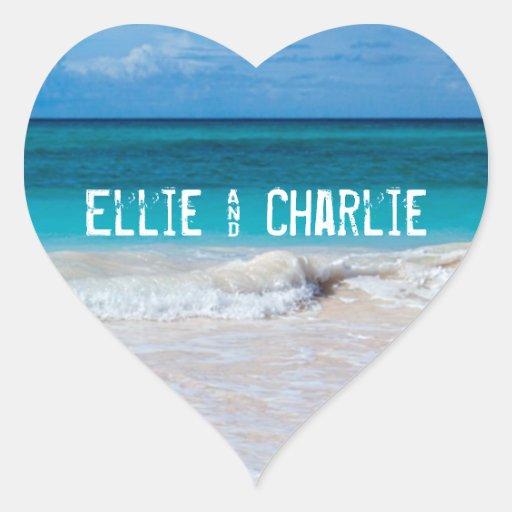 Tropical Ocean Beach Sand Heart Wedding Sticker