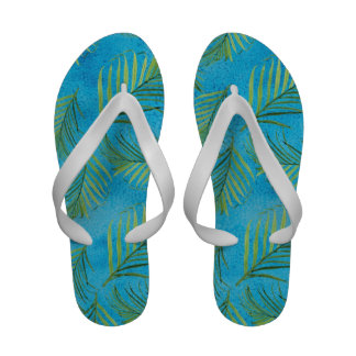 Tropical Ocean Beach Shore Palm Leaf Leaves Art Flip Flops