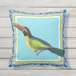 Tropical Ocean Beach Toucan Bird Batik Pattern Art Outdoor Pillow