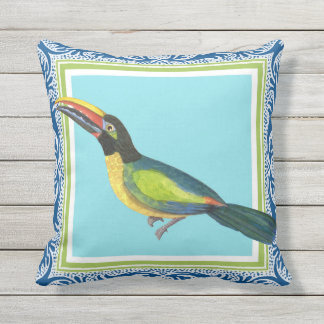 Tropical Ocean Beach Toucan Bird Batik Pattern Art Outdoor Pillow