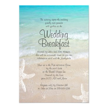 sandpiperwedding Tropical Ocean Beach Wedding Breakfast Invitation