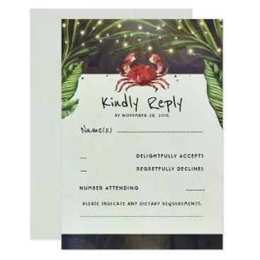 Beach Themed Tropical Ocean Crab Wedding RSVP Card