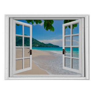 Tropical Ocean Faux Window View Poster