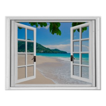 Beach Themed Tropical Ocean Faux Window View Poster