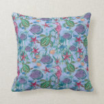 Tropical Ocean Fish Seahorse Sea Turtle Watercolor Pillows