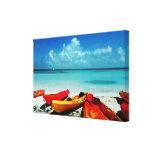 Tropical Ocean Kayak Canvas Canvas Print