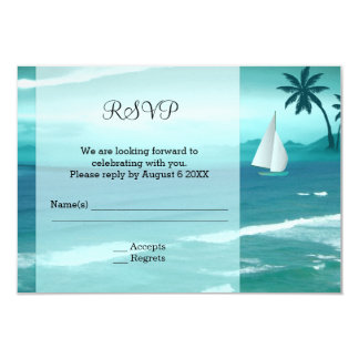Tropical Ocean Sailing Wedding Enclosure RSVP Card