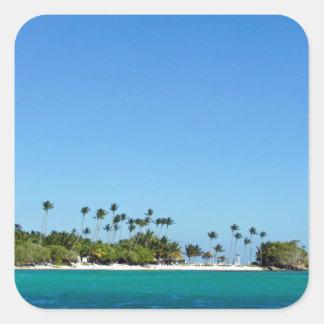 tropical ocean square sticker