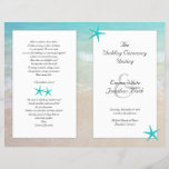 """Tropical Ocean Starfish Christian Ceremony Program<br><div class=""""desc"""">Beach wedding folded Catholic / Christian long ceremony program template, to add lots of text to all four pages. Christian scripture or a verse can be added to the back page along with a thank-you message to family, friends and guests. Scenic blue ocean water and sandy beach image on paper...</div>"""