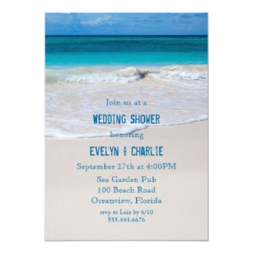sandpiperwedding Tropical Ocean Water Beach Wedding Shower Invite