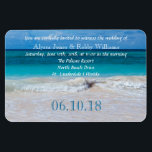 """Tropical Ocean Water Wedding Invitation Magnet<br><div class=""""desc"""">Tropical,  beach wedding invitation magnet.  Large 4x6 inch size,  flexible magnet with template text in white and a large,  numeric wedding date at the bottom. Aquamarine blue,  tropical water and waves along the shore make up the scenic background.   ... ... ... ... ... ... .</div>"""