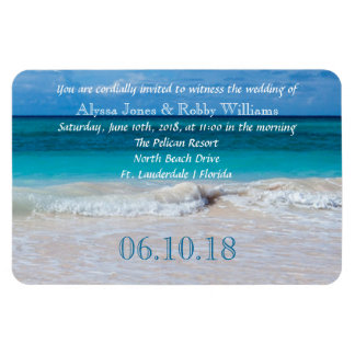 Tropical Ocean Water Wedding Invitation Magnet