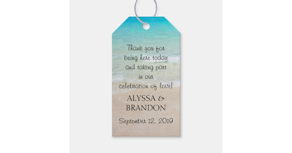 Thank You Wedding Gift Wording: Tropical Ocean Wedding Thank You Favor Tags