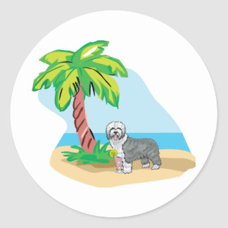 tropical old english sheepdog classic round sticker