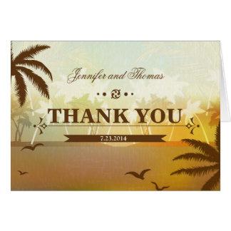 Tropical Orang Scenic Beach Wedding Thank You Card