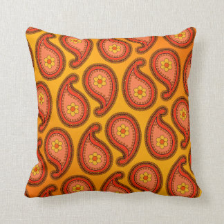 Tropical Orange and Yellow Large Paisley Pattern Throw Pillow