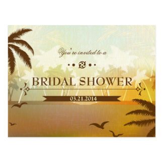 Tropical Orange Beach Bridal Shower Invite Postcard