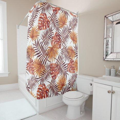 Tropical Orange Brown Palm Leaves Watercolor Art Shower Curtain