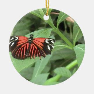 Tropical orange butterfly ceramic ornament